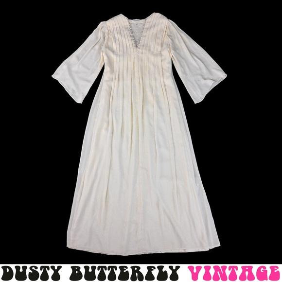 Vintage 70s Boho Wedding Dress Bell Sleeves L Xl